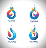 Fire Flame Logo. Creative vector logo design with hot fire flames and business card template Stock Photo