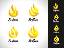 Fire Flame Logo. 3D Fire Logo Concept. Flame Icon Stock Images