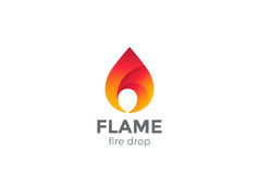 Fire Flame Logo design vector droplet. Red drop. Fire Flame Logo design vector template droplet shape Stock Image