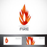 Fire or flame logo design. Vector logo template of fire or flame with business card Stock Photo