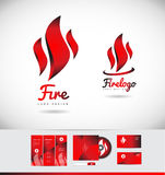 Fire flame logo icon shape design. Fire flame shape vector logo icon design corporate identity set cd brochure business card red Royalty Free Stock Photo
