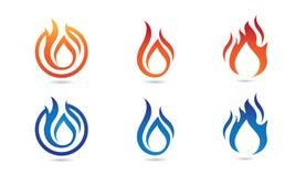 Fire flame Logo Template. Vector icon Oil, gas and energy logo concept Stock Photos