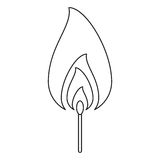 Fire flame match burning hot design line. Vector illustration eps 10 Royalty Free Stock Image
