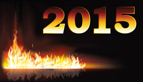 Fire flame 2015 new year card. Vector illustration Stock Photos