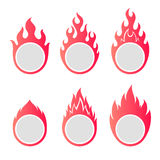 Fire flame round frames with copy space. Fire flame round frames set with copy space Royalty Free Stock Photo