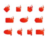 Fire and flame sale flat icon set isolated vector illustration. Eps 10 Royalty Free Stock Image
