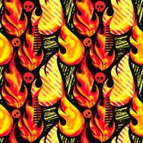 Fire flame seamless pattern.Textile ink brush strokes. Design in doodle grunge texture style.Unique scrapes, watercolor blotted background for a logo, cards Stock Images
