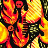 Fire flame seamless pattern.Textile ink brush strokes Stock Image
