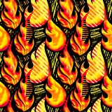 Fire flame seamless pattern.Textile ink brush strokes. Design in doodle grunge texture style.Unique scrapes, watercolor blotted background for a logo, cards Royalty Free Stock Photo