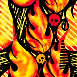 Fire flame seamless pattern.Textile ink brush strokes Royalty Free Stock Images