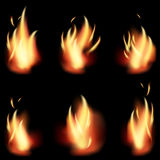 Fire flame set on black background.  Royalty Free Stock Image
