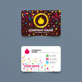 Fire flame sign icon. Fire symbol. Business card template with confetti pieces. Fire flame sign icon. Fire symbol. Stop fire. Escape from fire. Phone, web and Stock Photo