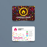 Fire flame sign icon. Fire symbol. Business card template with confetti pieces. Fire flame sign icon. Fire symbol. Stop fire. Escape from fire. Phone, web and Royalty Free Stock Photography