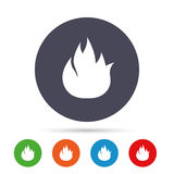 Fire flame sign icon. Fire symbol. Stop fire. Escape from fire. Round colourful buttons with flat icons. Vector Stock Photo
