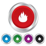 Fire flame sign icon. Fire symbol. Stop fire. Escape from fire. Round metallic buttons Stock Image