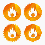 Fire flame sign icon. Fire symbol. Stop fire. Escape from fire. Triangular low poly buttons with flat icon. Vector Stock Images