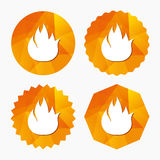 Fire flame sign icon. Fire symbol. Stop fire. Escape from fire. Triangular low poly buttons with flat icon. Vector Stock Image