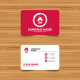 Fire flame sign icon. Heat symbol. Business card template with texture. Fire flame sign icon. Heat symbol. Stop fire. Escape from fire. Phone, web and location Stock Photography