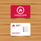 Fire flame sign icon. Heat symbol. Business card template with texture. Fire flame sign icon. Heat symbol. Stop fire. Escape from fire. Phone, web and location Royalty Free Stock Photos