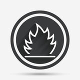 Fire flame sign icon. Heat symbol. Stop fire. Escape from fire. Circle flat button with shadow and border. Vector Royalty Free Stock Photos