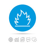Fire flame sign icon. Heat symbol. Stop fire. Escape from fire. Copy files, chat speech bubble and chart web icons. Vector Royalty Free Stock Images