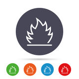 Fire flame sign icon. Heat symbol. Stop fire. Escape from fire. Round colourful buttons with flat icons. Vector Royalty Free Stock Image