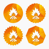 Fire flame sign icon. Heat symbol. Stop fire. Escape from fire. Triangular low poly buttons with flat icon. Vector Royalty Free Stock Photos