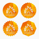 Fire flame sign icon. Heat symbol. Stop fire. Escape from fire. Triangular low poly buttons with flat icon. Vector Stock Photo