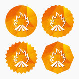 Fire flame sign icon. Heat symbol. Stop fire. Escape from fire. Triangular low poly buttons with flat icon. Vector Stock Images