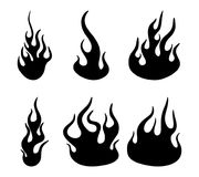 Fire flame silhouette set design isolated on white.  Stock Photography