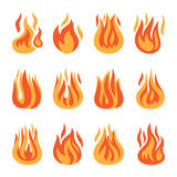 Fire flame silhouette set. Fire icons. Vector fire flame silhouette set isolated on white background Royalty Free Stock Image