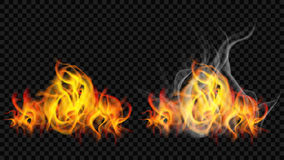 Fire flame with smoke and without. On transparent background. For used on dark backgrounds. Transparency only in vector format Royalty Free Stock Photo