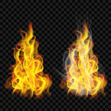Fire flame with smoke and without. On transparent background. For used on dark backgrounds. Transparency only in vector format Stock Images