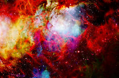 Fire flame in space. Cosmic space and stars, color cosmic abstract background. Stock Image