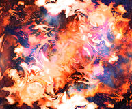 Fire flame in space. Cosmic space and stars, color cosmic abstract background. Stock Photography