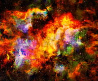 Fire flame in space. Cosmic space and stars, color cosmic abstract background. Royalty Free Stock Image