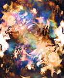 Fire flame in space. Cosmic space and stars, color cosmic abstract background. Royalty Free Stock Images
