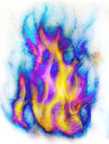 Fire flame in space. Cosmic space and stars, color cosmic abstract background. white color on the edges. Fire flame in space. Cosmic space and stars, color Royalty Free Stock Photography
