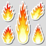 Fire flame stickers set. Flat fire flame stickers with shadow set, vector Royalty Free Stock Image