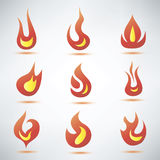 Fire flame symbol. Set of icons Royalty Free Stock Photos