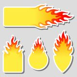 Fire, flame tag label set. Vector fire, flame tag, sticker, label set Royalty Free Stock Image