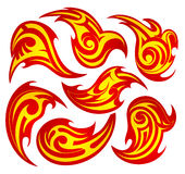 Fire flame tattoo set Royalty Free Stock Photo