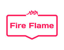 Fire Flame template dialog bubble, flat style on white background. Basis with fire icon for various word of plot. Vector Stock Photos