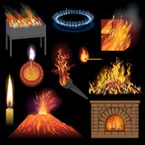 Fire flame vector fired flaming bonfire in fireplace and flammable campfire illustration fiery or flamy set of. Torchlight or lighting flambeau wildfire Royalty Free Stock Image