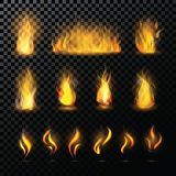 Fire flame vector fired flaming bonfire in fireplace and flammable campfire illustration fiery or flamy set with. Wildfire isolated on transparent background Stock Photos