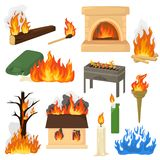 Fire flame vector fired flaming bonfire in fireplace and flammable campfire illustration fiery set of flamy torchlight. Or lighting flambeau isolated on white stock illustration