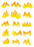 Fire and Flame Vector Icon Set. Collection of graphical designs for flame and fire. Vector icons isolated on white background Royalty Free Stock Images