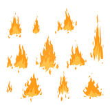 Fire flame vector isolated. Fire flame hot burn vector icon. Warm danger fire flame and cooking yellow bonfire. Light blazing campfire ignite fire flame design Royalty Free Stock Photography