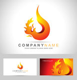 Fire Flame Vector. Fire Flame Logo. Creative vector logo design with hot fire flames and business card template Stock Photo