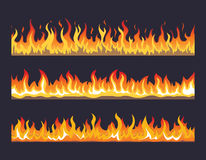 Fire flame vector seamless set. Fire flame seamless set. Burn hot, warm heat energy, flammable fiery, vector illustration Royalty Free Stock Images